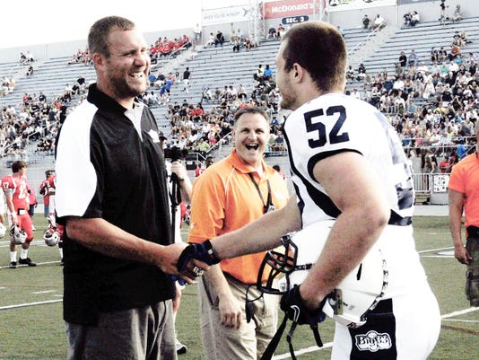 Ben Roethlisberger and Palmyra graduate Jon Hicks share a laugh before the Big 33 Classic in 2012. Hicks currently plays at UConn.