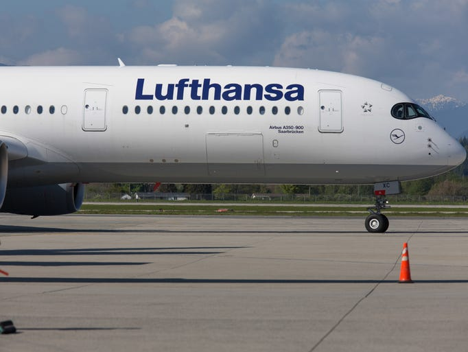 Lufthansa's Airbus A350-900 taxis to a gate after its