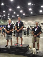 John Fuller, at left, is shown at the 2017 World Police & Fire Games in LA last week. Fuller took second place in the CrossFit division for law enforcement in the 60 and older category.
