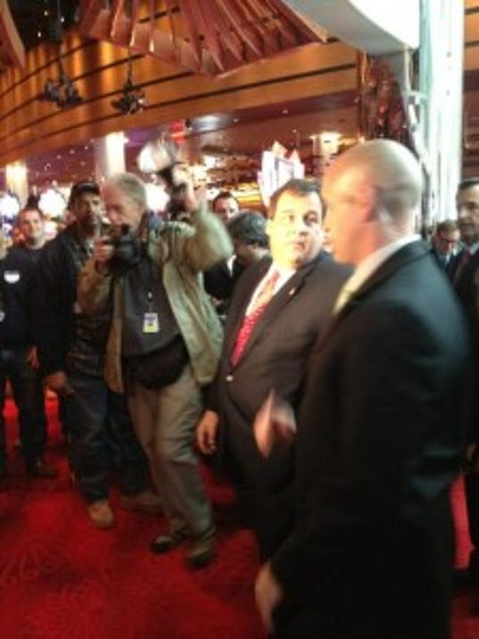 Gov. Chris Christie in a visit to Atlantic City's Revel casino before it opened.