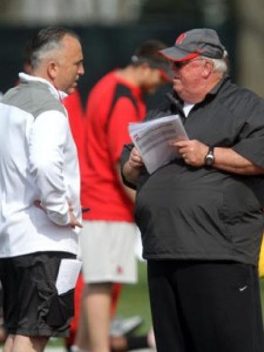 Rutgers football coach Kyle Flood (left) and offensive coordinator Ralph Friedgen will have a new quarterback to work with now that LSU transfer Hayden Rettig has committed. (Tanya Breen/MyCentralJersey.com)