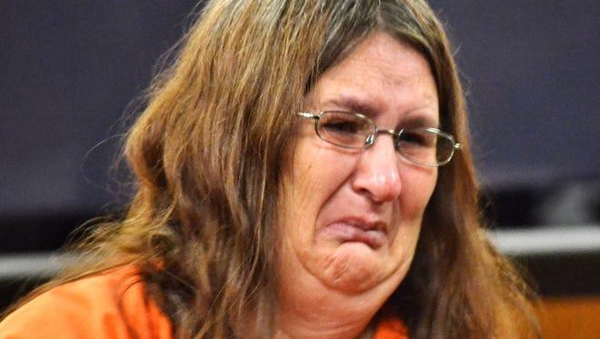 Wendy Pogrant cries following her Nov. 12 sentencing in a methamphetamine case in Oconto County.