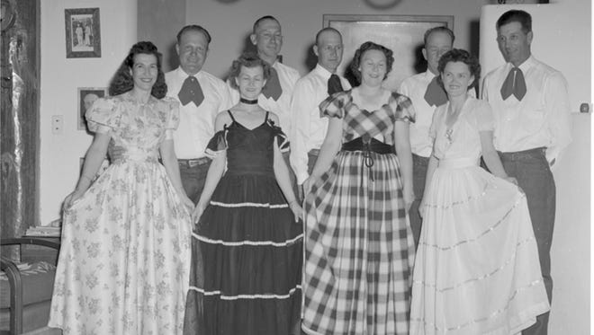 All gussied up, these couples look ready to dance in Ruidoso. Author and historian Lyn Kidder is trying to identify the people in this photo taken by Carmon Phillips, where they were and what they're doing. The entire Phillips' collection can be viewed at the Ruidoso Public Library.