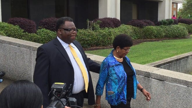 Forrest County Sheriff's Department Chief Deputy Charles Bolton, left, and his wife, Linda Bolton, leave federal court in March 2016 after pleading not guilty to multiple charges of filing false tax returns and tax evasion. The Boltons were convicted in September on 14 of the 20 counts.