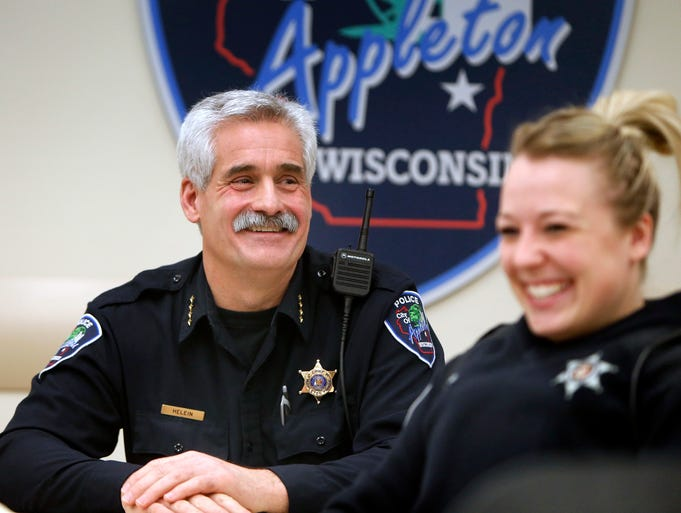 Appleton Police Chief Pete Helein during roll-call at the Appleton Police Department in Appleton, Wis. on December 18, 2012.