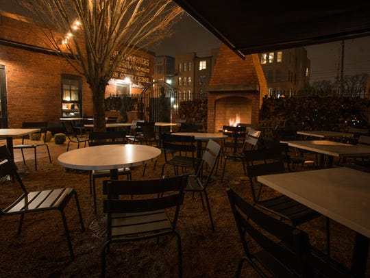 The Champagne Garden at Geist, which features fireplaces