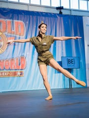 Ontario senior Lauren Beard performs a jazz dance number as her talent routine in the Miss Arnold Teen Fitness Pageant.