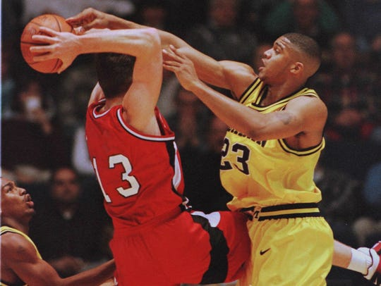 U-M's Maurice Taylor gets called for the foul here