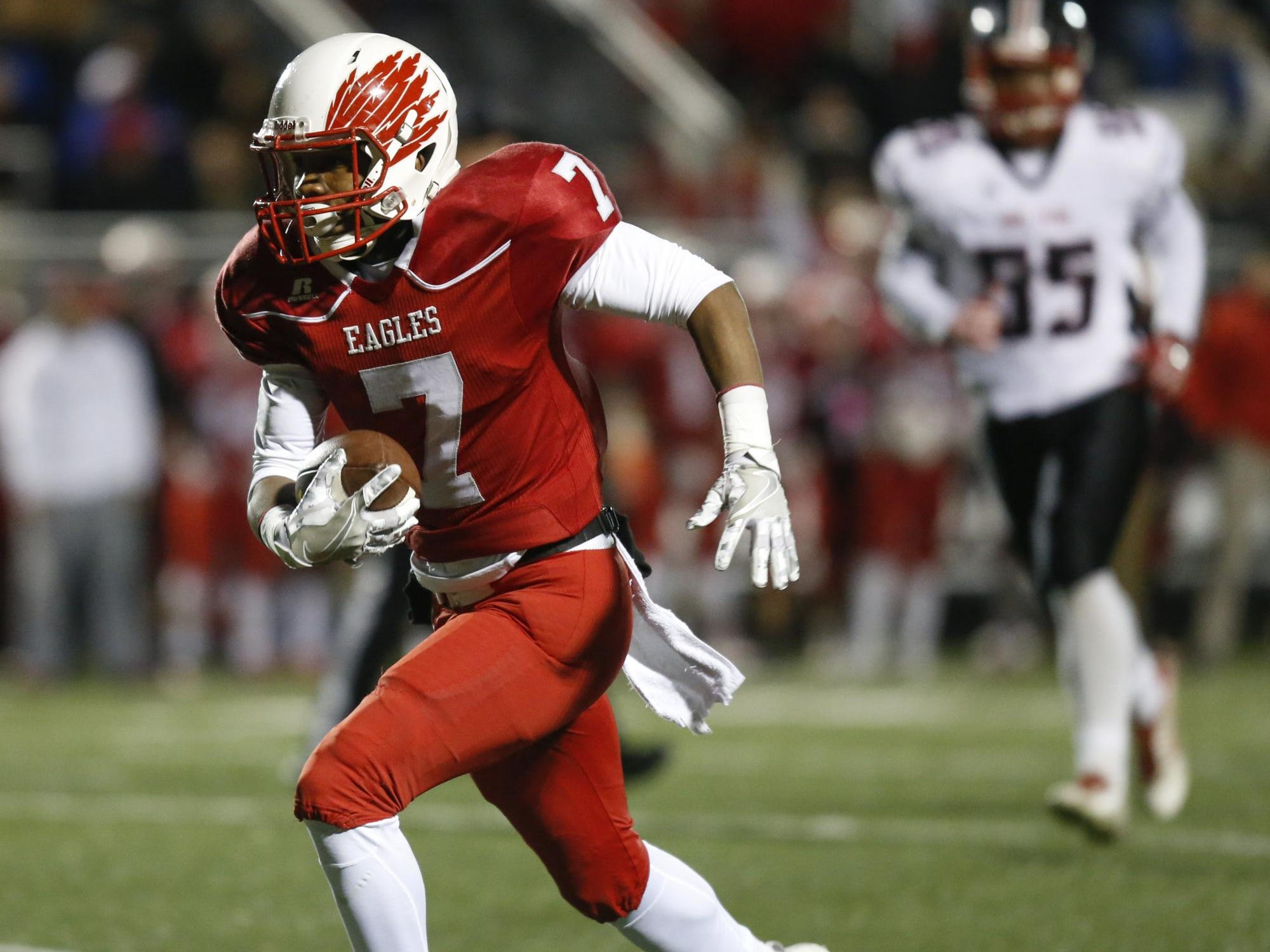 Smyrna receiver Stephen Whaley scores untouched on a 27-yard touchdown reception in the second quarter of a DIAA Division I state tournament semifinal against William Penn Friday at Smyrna High School.