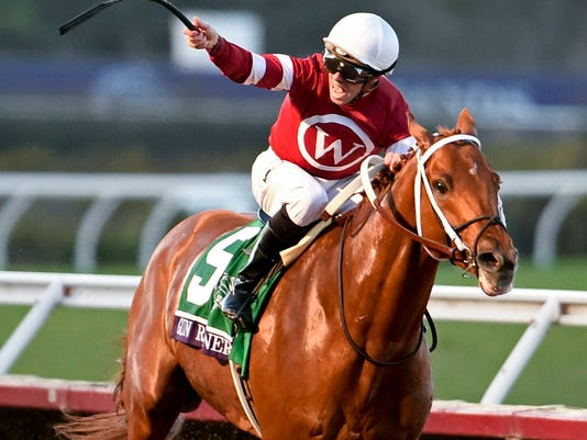 FILE - In this Nov. 4, 2017, file photo, jockey Florent Geroux celebrates as Gun Runner heads to the wire to win in the Breeders' Cup Classic horse race in Del Mar, Calif. Gun Runner is the favored to win Horse of the Year at the Eclipse Awards on Thursday, Jan. 25, 2018. (AP Photo/Denis Poroy, File)