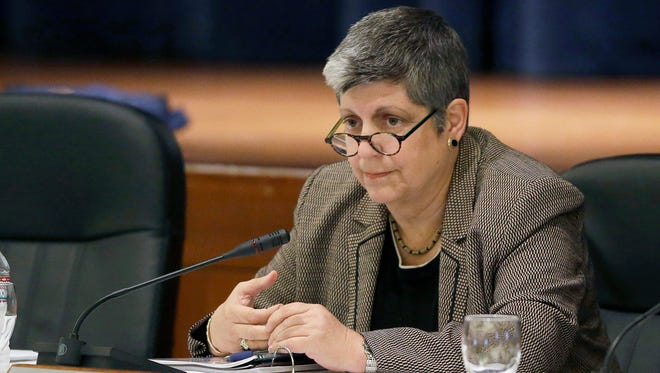 In this Nov. 12, 2012 file photo, University of California President Janet Napolitano listens during a UC Regents meeting in San Francisco.
