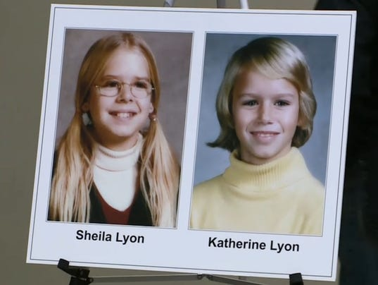 1975 school photos of sheila lyon 12 and katherine lyon 10 are