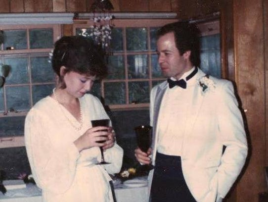 Rebecca and Tim Shawhan on their wedding day in 1985.