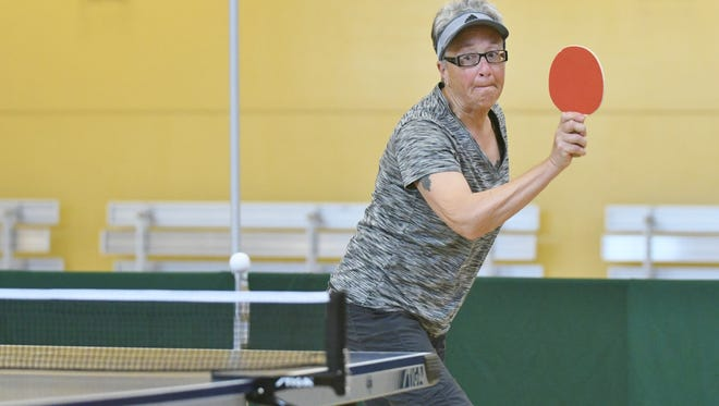 Joan Dalin competes in Visalia's Senior Games on Saturday, March 17. Dalin hoped to place in table tennis.