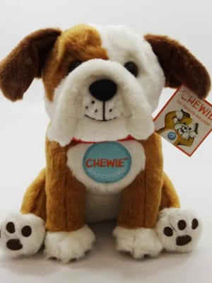 Chewie the English Bulldog was recalled Wednesday, May 17, 2017, because the plastic eyes can detach causing a potential choking hazard. Douglas Co. also is recalling Oliver the Bear and Charlotte the Fox.