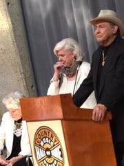 Maxine Brown, from left, Bonnie Brown and Jim Ed Brown of Jim Ed Brown and The Browns are welcomed into the Country Music Hall of Fame during the CMA Announcement Wednesday in Nashville, Tennessee.
