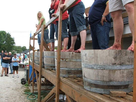 The grape stomp is a popular part of von Stiehl Winery's