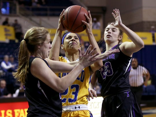 Angelo State's Christina Robinson fights through the