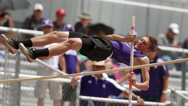 Sterling City's Quinton McMullan clears the bar during the boys pole vaulting event at the UIL Region II-1A Championship Track and Field Meet at Angelo State on Friday, April 28, 2017.