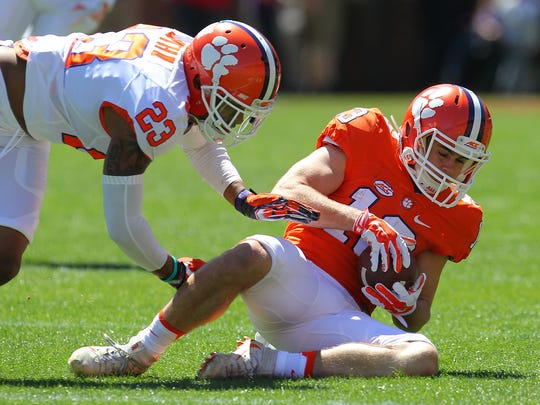 Clemson wide receiver Hunter Renfrow (13) catches a