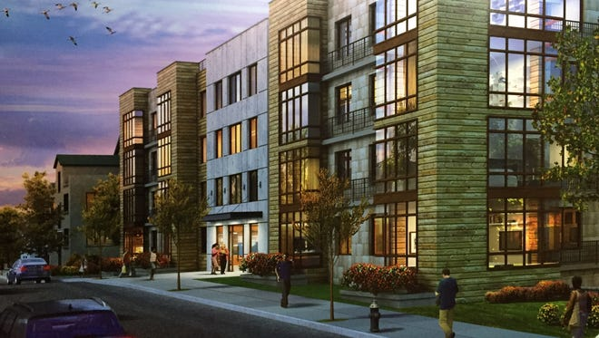 An artist rendering of Enclave Equities' proposed apartment building on Locust Street in Mount Vernon's Fleetwood neighborhood.
