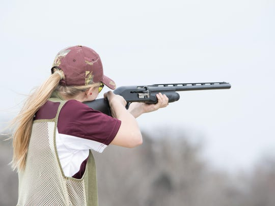 Ankeny High's McKayla Doyle readies for a shot at the April 8 trap meet in Creston. She took first for intermediate girls in the afternoon with 34 out of 50.