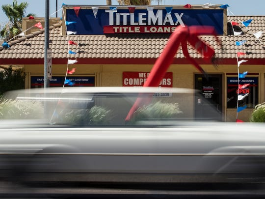 Picture of the storefront for TitleMax at Alma School Road and West University Drive in Mesa.