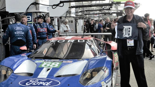 Steve Sterback from Allen Park took the D to the garage on race day before the start of the 2016  Le Mans 24 Hour race at the Circuit de la Sarthe on June 18, 2016 in Le Mans, France. The car in the picture won its class, the LMGTE PRO category. It was Ford's 50th anniversary of the 1966 win at Le Mans. Sterback is a 30 year Ford Motor Company employee. The green flag drops to start the 2017 24 Hours of Le Mans at 9 a.m. Saturday, June 24, 2017. Fox Sports 1 and 2 will broadcast the race.