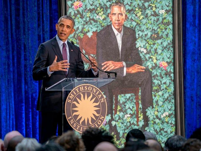 Former President Barack Obama, speaks at the unveiling