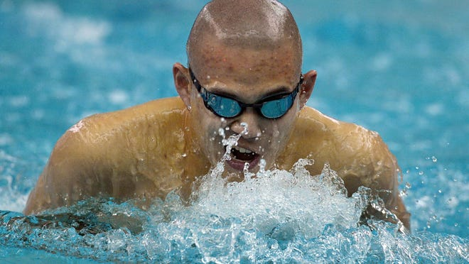 Pittsford's Arthur Fan wins the 200 yard individual medley with a time of 1:53.31 during the Section V Class A Boys Swimming Championship Finals held at the Webster Aquatic Center on Friday, February 12, 2016. Fan was named swimmer of the meet.