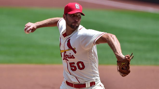 St. Louis Cardinals starting pitcher Adam Wainwright delivers the ball during a game against the Pittsburgh Pirates on Saturday at Busch Stadium in St. Louis.