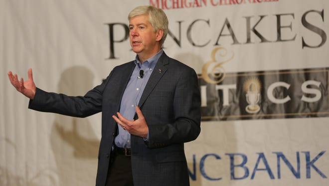 Gov. Rick Snyder speaks at the 2016 Michigan Chronicle's Pancakes & Politics at the Detroit Athletic Club Monday.