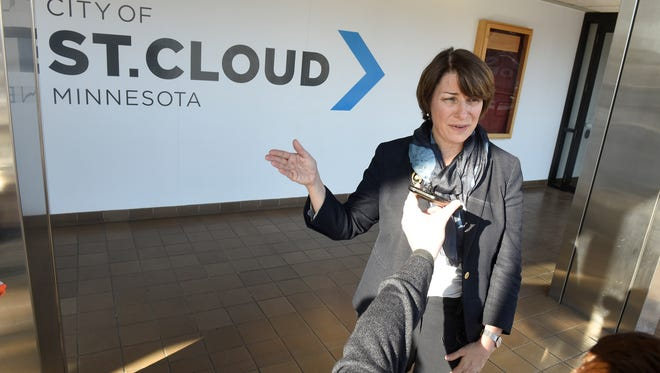 Sen. Amy Klobuchar speaks following a meeting with Electrolux employees and local elected officials Saturday, Feb. 10, at St. Cloud City Hall.
