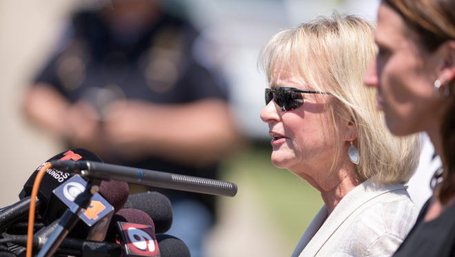 Beth Niedermeyer, Superintendent of Noblesville Schools, gives remarks on the lawn outside Noblesville West Middle School, where law enforcement say a student shot a fellow student and a teacher in Noblesville on Friday, May 25, 2018.