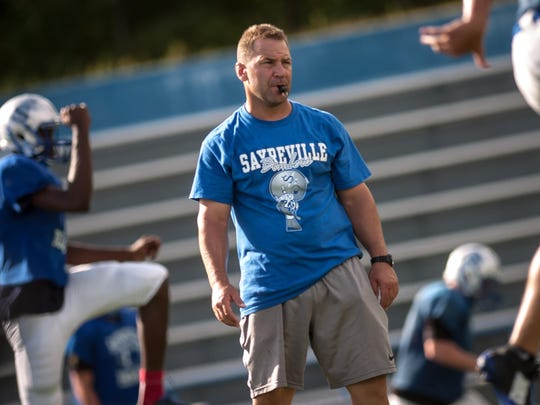 Chris Beagan during his first year as Sayreville's head coach in 2015