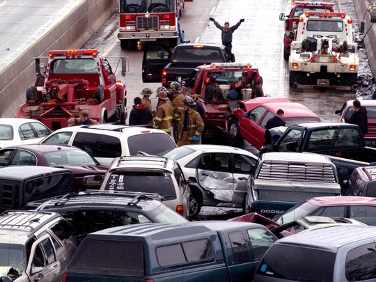 Firefighters, police, tow truck employees and drivers