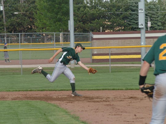Logan Brusky snags the ball in the infield for the Kewaunee County Lakers Legion team.