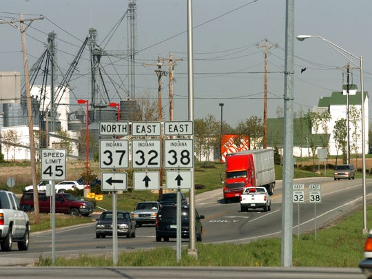 intersection of Indiana state highways 37 , 32 and