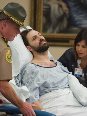 Steven Bourgoin is arraigned in Vermont Superior Court in Burlington on Friday, October 14, 2016, on five counts of second-degree murder stemming from a head-on crash on Interstate 89. Bourgoin was arraigned in a makeshift courtroom at the University of Vermont Medical Center where he is lodged due to injuries suffered in the crash.