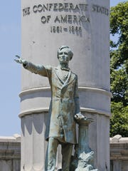 A statue of Confederate President Jefferson Davis stands