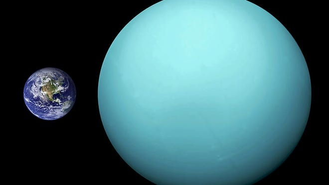 The planet Uranus, right, is compared in size with Earth. This image of Uranus was taken in 1986 by the Voyager 2 spacecraft.