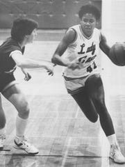 Janice Joseph-Richard is shown during her All-American basketball career at Louisiana College.