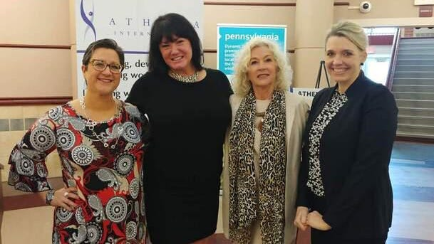 The Athena Powerlink program is a free mentoring program that links powerful professionals to female business owners for one year. Shown with Linda Stevenson, second from right, director of Athena Erie, are 2020 participants and business owners, from left, Alice DeGeorge, Presque Isle Printing Services; Sarah Purvis, Erie Dance Conservatory; and Jennifer Minski, PopLuck.