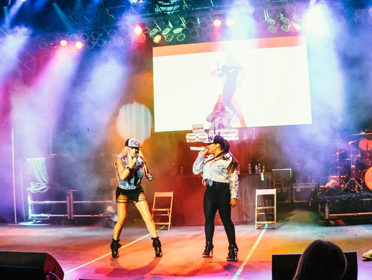 Salt N Pepa performing live at the I Love The 90's