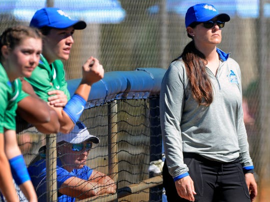 UWF softball coach Melissa Paul and her assistant coach