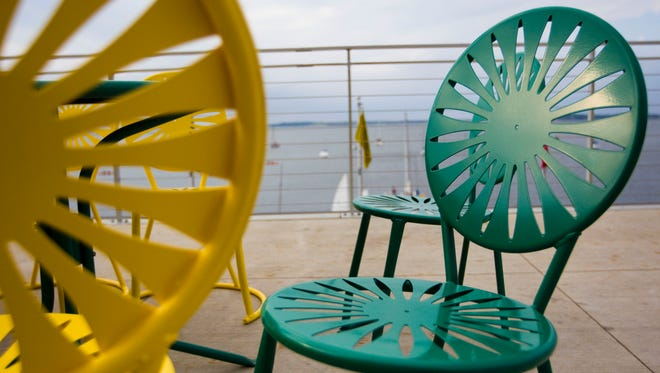 Colorful starburst chairs are a staple on the Memorial Union Terrace on the University of Wisconsin campus in Madison.