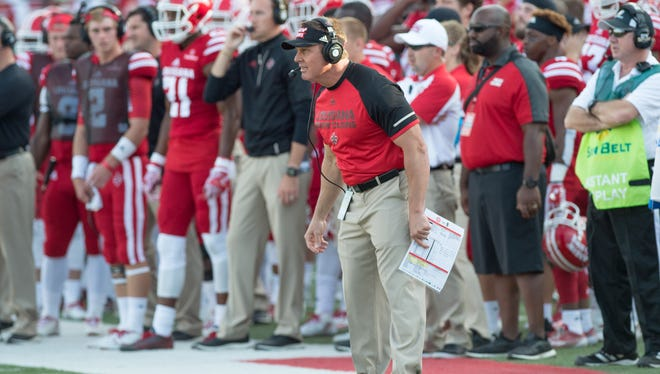 UL's Mark Hudspeth, shown here coaching against Idaho earlier this year, has much respect for Arkansas State.
