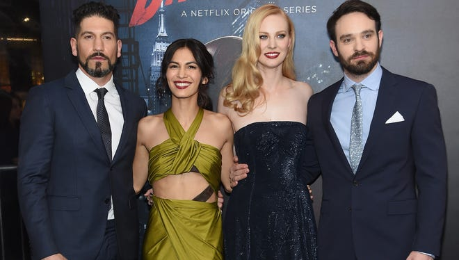 "L-R) Actors Jon Bernthal, Elodie Yung, Deborah Ann Woll, and Charlie Cox attend the ""Daredevil"" Season 2 Premiere at AMC Loews Lincoln Square 13 theater on March 10, 2016 in New York City."