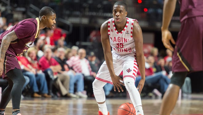 UL point guard Marcus Stroman had a 10-point, 10-assist double-double in UL's 82-48 win over UL Monroe on Saturday night at the Cajundome.