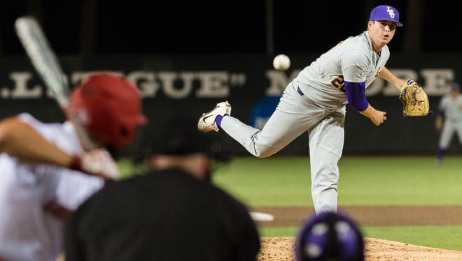 """Tigers starting pitcher AJ Labas on the mound as The Louisiana Ragin' Cajuns take on LSU baseball at M.L. """"Tigue"""" Moore Field at Russo Park. Wednesday, March 7, 2018."""